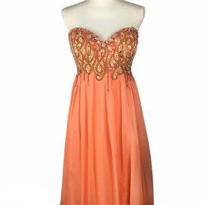 Jovani Strapless Gown Sz 14 Orange Beaded Prom